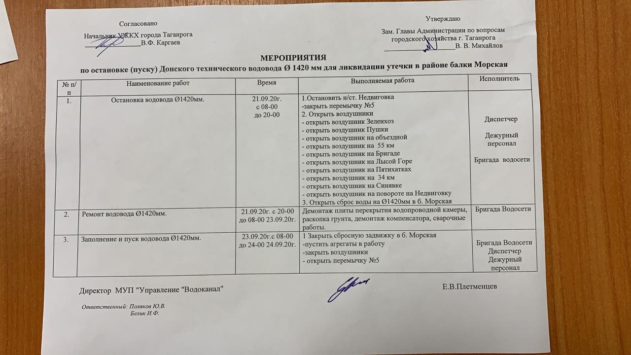 Водоканал Таганрога сообщает о запланированных работах на Донском водоводе